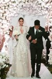 this models blush pink wedding dress was breathtaking but did you see her epic bridal cape 1