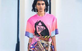 chloe spring runway pink graphic t shirt printed shorts sarong rope belt purple platform sandals statement earrings landscape cropped