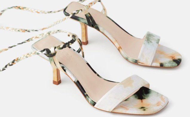 Zara Tie Dye Woven Strap Heeled Sandals landscape cropped