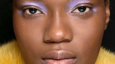 mary katrantzou fall beauty pastel purple eyeshadow neutral lip color landscape cropped