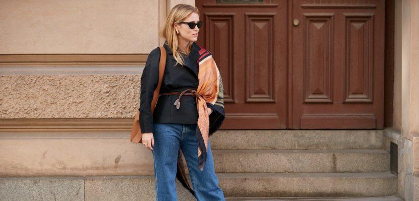 stockholm spring street style black blazer brown belt scarf baggy jeans Marquee landscape cropped