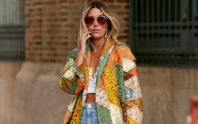 new york street style patchwork jacket white crop top faded baggy jeans Marquee landscape cropped