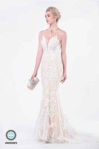 andemes white lace dress with fine intricate embroidery